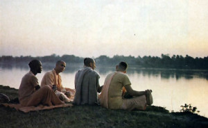 The bank of the Ganges on a mild evening is the perfect setting for devotees to gather and talk about the glories of Lord Caitanya.