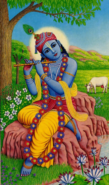 When Krsna plays His flute in the transcendental land of Goloka Vrndavana in the spiritual world, even the animals, the rivers, and the grass and other nonmoving objects are attracted to the beautiful sound. Krsna invites everyone to return to the spiritual sky and enjoy eternal life with Him.