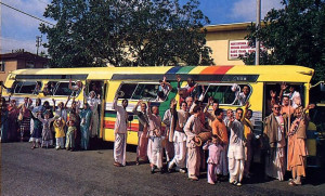 The temple bus brings the chanting of Hare Krsna to all corners of Los Angeles.