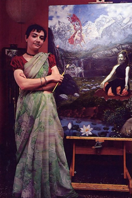 Painting for Krsna. Dirgha-devi dasi and other artists illustrate ISKCON books.