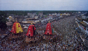 The great annual Ratha-yatra festival at Jagannatha Puri in Orissa, unchanged since the time of Sri Caitanya Mahaprabhu.