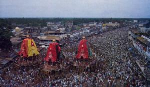 The great annual Ratha-yatra festival at Jagannatha Puri in Orissa, unchanged since the time of Sri Caitanya Mahaprabhu.