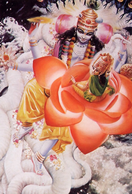 Within each universe, while lying on a bed of celestial snakes floating on the universal waters. Garbhodaksayi Visnu creates Brahma, whom He empowers to create all planets and all species of life. Brahma, who in this universe has four heads, is born from a lotus sprouting from the navel of Garbhodaksayi Visnu.