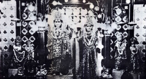 THE FIRST PHOTO EVER PERMITTED OF THE SUBLIME DEITIES AT SWARGASHRAM, A TEMPLE COMPLEX ACROSS FROM RISHIKESH. THE DEITIES ARE, FROM LEFT TO RIGHT: KRISHNA, RADHA, NARAYANA, LAKSHMI, RAMA AND SITA.