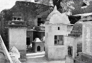 "Some of these ""Samadhis"", where the remains of the great saint are kept, are built like tiny houses and are no more than 1 ft. high. The Samadhis are worshiped by bowing, placing garlands and circumambulation of the Samadhi grounds. No shoes are allowed in this sacred area; infact, the very ground is considered so holy that after doing their morning rounds, the devotees will take a pinch of earth and pop it in their mouths!"