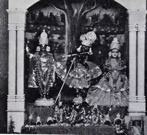 The deities of the Chaitanya Math Temple, on Janmasthmi (Krishna appearance) Day, 1968. On the left is the Chaitanya Mahaprabhu form of the Lord. He is placed beside Radha and Krishna because He is the embodiment of Them both, come to this world to deliver the fallen souls by propagating the chanting of the Holy Names of the Lord.