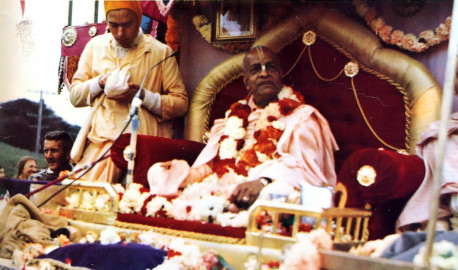 His Divine Grace seated on the Rathayatra Car