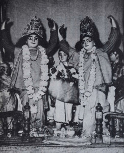 The great kirtana of Caitanya at Srivas Angen. Every evening, the Lord would have kirtana with only His most intimate associates, until all were exhausted by the unlimited energy of Caitanya.