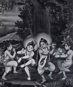 Krsna and His immediate expansion, Balarama, sport in childhood pastimes.
