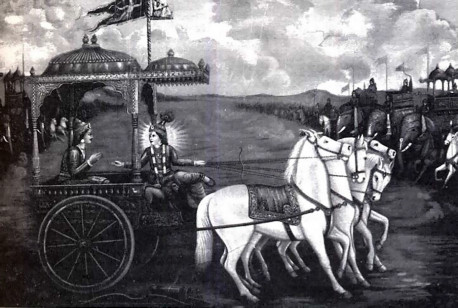 """Lord Krsna drew the fine chariot up in the midst of the armies of both parties"""