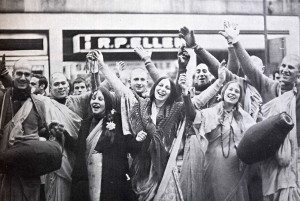 The most ecstatic group in the world - the London devotees, on Oxford Street.