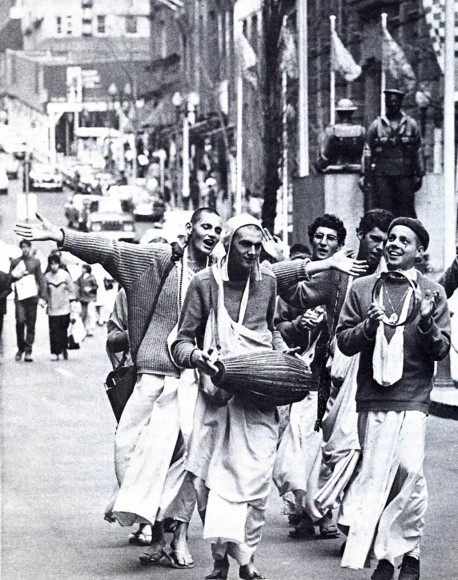 "Downtown in Sydney, Australia, the Hare Krsna devotees blissfully execute the divine order of the spiritual master: ""Chant Hare Krsna, and be happy"""