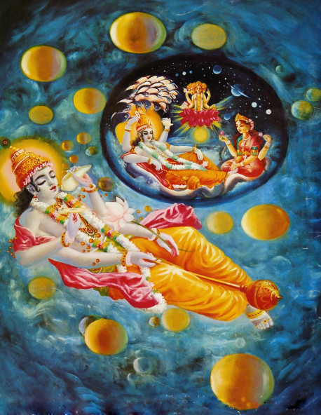 Maha-Visnu, a part of a part of Krsna, lies down in a corner of the spiritual sky, and from his breathing all the universes come out like golden balls, and in each universe He further expands as Garbhodakasayi Visnu, and from the stem of a lotus growing from His navel, Lord Brahma, the first living entity is born...