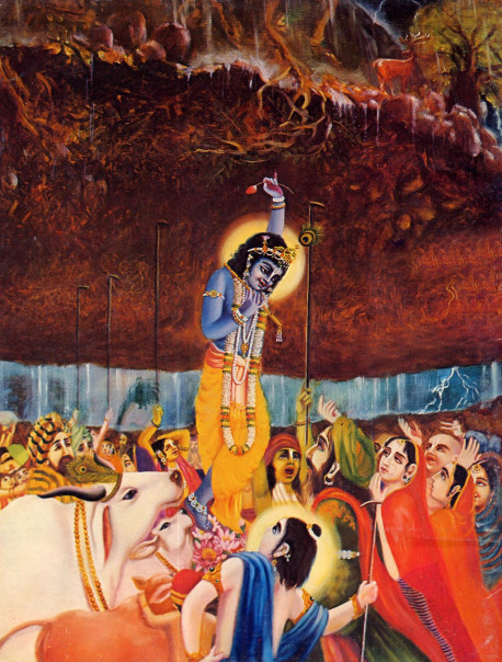 As a child, Lord Krsna, the Supreme Personality of Godhead, almost daily fulfilled His promise that He would always protect His devotees. In one instance He rescued the entire village of Vrndavana and its inhabitants from sun disaster by lifting Govardhana Hill and holding it in the air for seven days as great umbrella during a storm sent by Indra, the King of heaven.
