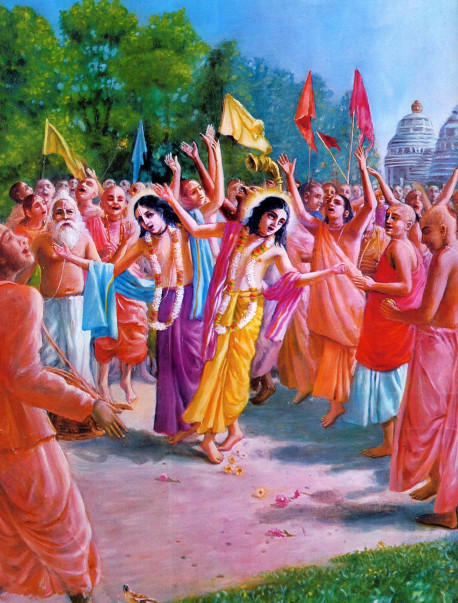 Lord Sri Krsna appeared 500 years ago as Lord Caitanya, a pure devotee, just to teach us how to love Krsna. His ecstatic method of sankirtana (dancing and chanting Hare Krsna) is the recommended way to achieve spiritual happiness in this present age of hypocrisy and quarrel.