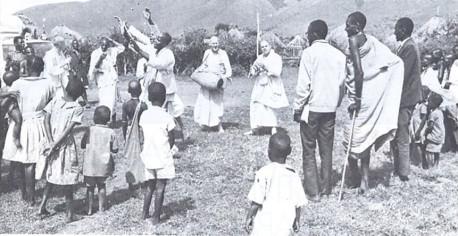 Masai tribe enjoying kirtana congregational chanting of the holy name.