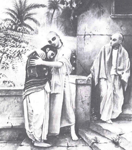 "All of Srila Prabhupada's larger books have been illustrated by his disciples with full color paintings: Lord Caitanya Mahaprabhu embracing His disciple Sanatana Gosvami in spiritual ecstasy (from ""Teaching of Lord Caitanya"")"
