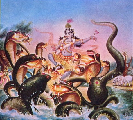Lord Krsna dances on the heads of the demoniac Kaliya serpent whose vernom had polluted the waters of the River Yamuna. The Lord subdued the demon simply by dancing on his heads and drove him away from the Yamuna's waters. Pure devotees of Lord Krsna derive transcendental pleasure from visiting the sites of the Lord's pastimes.