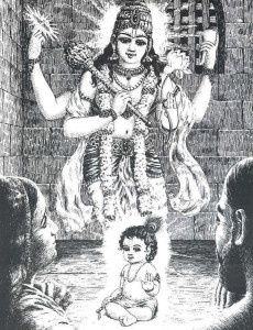 When Krsna appeared as a child before Vasudeva and Devaki, He revealed to them His four-armed expansion as the all-powerful Lord Visnu. Thus Krsna, the son of Vasudeva and Devaki, the the Supreme Godhead.