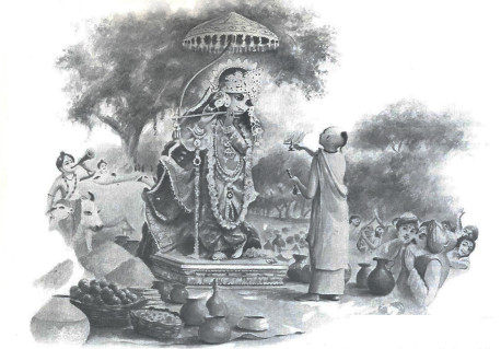 Led by Madhavendra Puri, the villager welcomed and worshiped the Deity. Pleased by devotion, the transcendental cowherd boy agreed to become visible to the public.