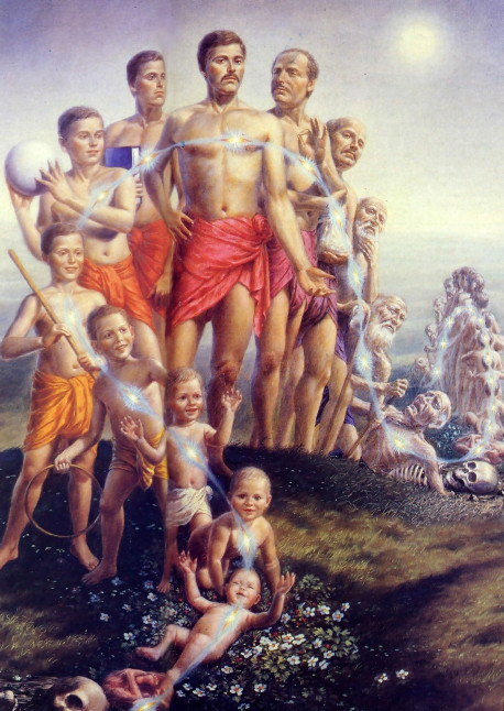 The soul transmigrates at every moment as our body changes from childhood, to youth, and then to old age. When the body disintegrates at death, the soul start s another round of transmigration in a new body. For those who wish to break free o f this painful cycle of repeated death and rebirth, the Vedic literature provides the method: Krsna consciousness.