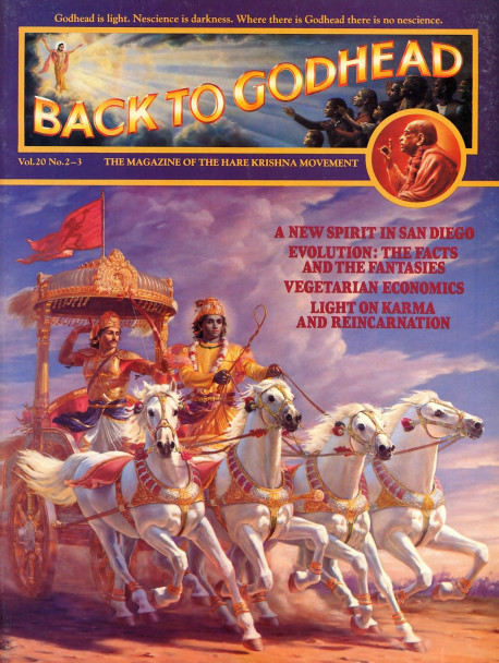"Five thousand years ago, on the sacred Kuruksetra plain in northern India, Arjuna leads his army into battle against the Kurus. Lord Krsna has taken up the reins of His devotee's chariot, and together the invincible pair are determined to restore just rule to the world. There is little doubt that they will, for as the Bhagavad-gita says. '"" Wherever there are Krsna, the master of all mystic power, and Arjuna, the supreme archer, there will certainly be victory, opulence, extraordinary power, and morality."""