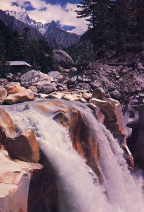 At Gangotri, the Ganges thunders into a deep ravine.