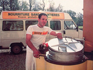 Adiraja dasa, co-director of the French Food for Life program, uses an army-surplus mobile kitchen .