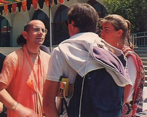 Festival coordinator Srila Ramesvara Swami, one of the present spiritual masters in the Hare Krsna movement, answers questions from festival visitors with insights from the Krsna consciousness philosophy