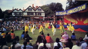 In addition to the traveling festival, the temples of the International Society for Krishna Consciousness sponsor such traditional cultural events as Janmastami, the annual celebration of Lord Krsna's appearance-day anniversary, shown above at Bhaktivedanta Manor, where thousands of Londoners watch a performance by an Indian dance company. The festival culminates in a midnight worship ceremony and a feast of prasadam, vegetarian food offered to Lord Krsna.