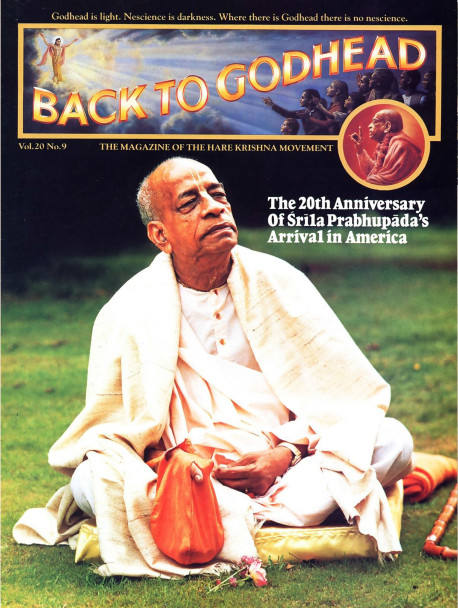 Srila Prabhupada (see his biographical sketch on the facing page) arrived in America-Boston, Massachusetts- twenty years ago this month aboard the steamship Jaladuta, with only a few dollars and a trunk of books. The anniversaries of his arrival in the West, his appearance day, and his passing away in 1977 continue to inspire commemorations among his disciples and grand-disciples in Krsna conscious communities around the world. Here he is pictured at Bhaktivedanta Manor, an estate near London donated by former Beatle George Harrison.