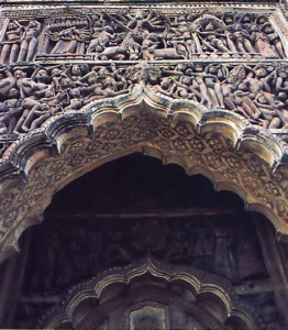 A detail from a temple in Kalna, built in 1849
