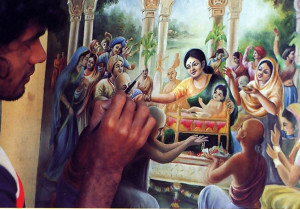 Joyous festivities during Lord Caitanya's appearance-day celebration five hundred years ago, as painted by Dinesh, a full-time devotee-artist.