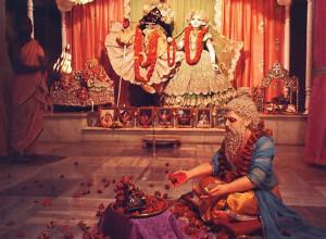 On His appearance-day anniversary, Advaita Acarya is worshiped along with Sri Sri Radha-Madhava. Deities of the Supreme Lord.