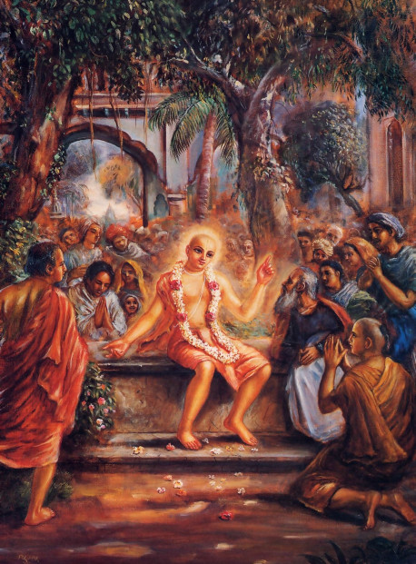 When the news spread that Lord Caitanya had left His home and family affairs and come to the house of one of His intimate associates in Santipura, hundreds of townspeople came to see Him.