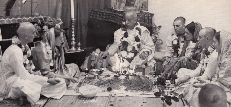 One aspect of Srila Prabhupada's cure for material illusion was responsible, Krsna conscious marriage. Here he performs a traditional Vedic wedding ceremony at the Boston Hare Krsna center in the late sixties. Later, as the International Society for Krishna Consciousness expanded, Srila Prabhupada turned over the responsibility for performing these ceremonies to his older disciples.