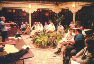 In the courtyard of Prabhupada's Palace of Gold, David Bromley, professor of sociology at Virginia Commonwealth University, moderates an academic conference on ISKCON. A number of talented interpreters of the Indian religious tradition and the contemporary Western religious scene met to explore the implications of the Hare Krsna movement on the eve of its third decade in the West.