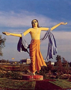 A thirty-foot-high statue of Lord Caitanya now stands in Burnaby, British Columbia, in full view of Marine Way, a road that carries thirty-five thousand cars daily.
