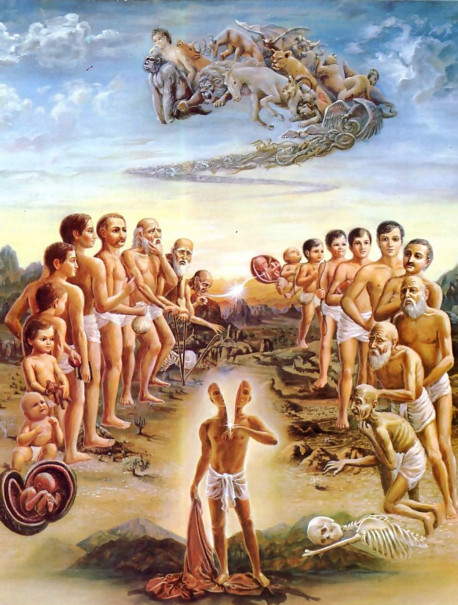 Our physical self, the body , is always changing-from childhood to youth to old age, from lifetime to lifetime, and even from species to species. Yet our spiritual self-the consciousness, or inner spark-is always the same. Our actions and desires determine whether we will be transferred to a material body or a spiritual body in the next life .