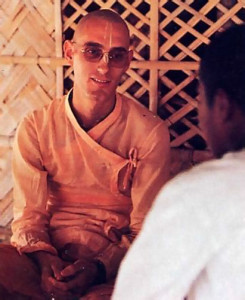 At left, Anirdesya, principal of the Mayapur school, works closely with the boys, counseling them, guiding them, and organizing their personalized courses of study.
