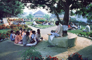 """Mr. Mukherji gives a class on the Bhagavad·gita. Gurukula, """"the place of the spiritual master,"""" trains children to become secure and successful in life by doing everything as loving service to the Supreme. Vigorous physical activity is an integral part of the students' development."""