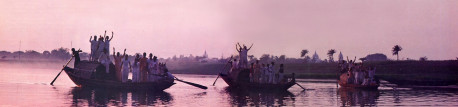 A boat ride across the Jalarigi takes the children to sacred sites connected with Lord Caitanya's pastimes and devotees. The Lord's foremost teaching was to chant the holy names of God (Hare Krsna, Hare Krsna, Krsna Krsna, Hare Hare/ Hare Rama, Hare Rama, Rama Rama, Hare Hare).