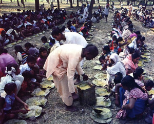 Each week at the Hare Krsna center in Mayapur, as well as in nearby villages, prasadam (food that has been offered to Krsna) is distributed free to all comers on simple leaf plates.