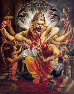 Unafraid of the ferocious Lord Nrsimha, Prahlada approaches the Lord to garland Him. Prahlada understood that Hiranyakasipu had brought about his own fate by his defiance of the Lord's omnipotence. Prahlada then requested that his father be liberated from further suffering.