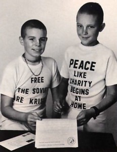 Prahlada dasa (left) and Ramana dasa with their letter to Soviet Premier Gorbachev.