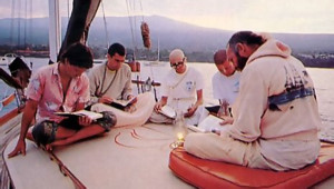 Narahari Swami and the crew always read from the spiritual classic Srimad-Bhagavatam before a day of sailing.