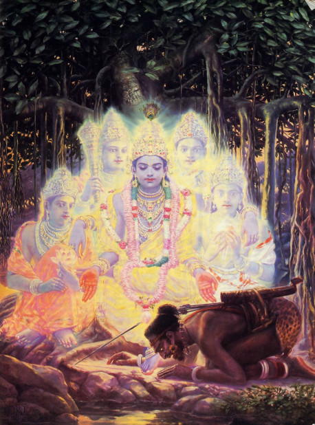 To be wilder the faithless, who think that Krsna has a material body, He pretended to die as the result of being shot in the foot by a hunter. But Krsna's form is spiritual, and from it expand unlimited potencies. Shown here surrounding Krsna, in their personal forms, are His chief weapons-the lotus, club, disc, and conchshell.