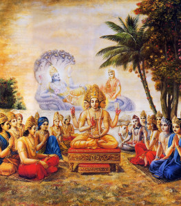 On hearing of Mother Earth's plight, Lord Brahma and the demigods have gone to the spiritual planet Svetadvipa. There, at the shore of the ocean of milk, they pray for Lord Krsna to come to earth.