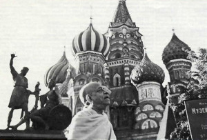 Srila Prabbupada walks in front of Saint Basil's Cathedral in Red Square. Moscow, June 1971.