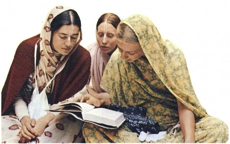 Hare Krishna Ladies Studying Srimad Bhagavatam during Morning Class in the Temple